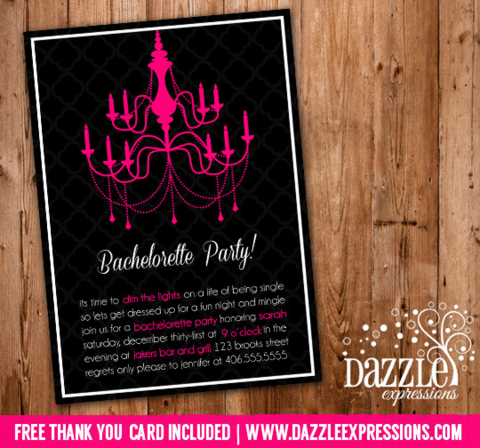 Bachelorette Party Invitation 1 - Thank You Card Included