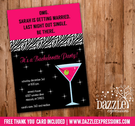 Bachelorette Party Invitation 3 - Thank You Card Included