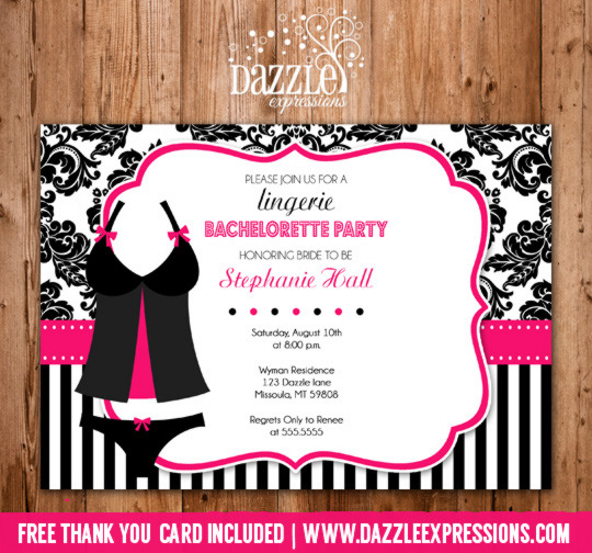 Lingerie Bachelorette Party Invitation Black and White Damask and