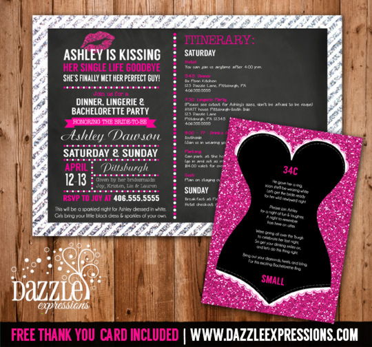 Printable DIY Bachelorette Party Invitations by Dazzle Expressions – Little Black Dress Bachelorette Party Invitations