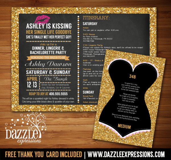c14ab2221bba Printable Gold Glitter and Chalkboard Bachelorette Itinerary Party ...
