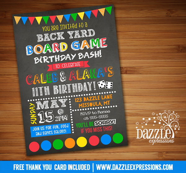 Backyard Games Birthday Invitation - FREE thank you card