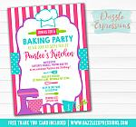 Baking Party Invitation 2 - FREE thank you card included