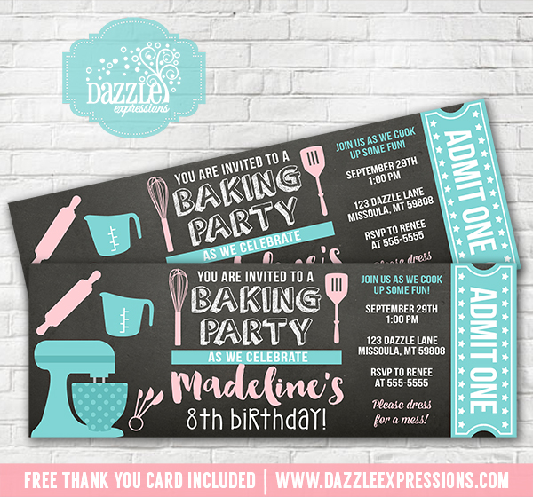 Baking Party Chalkboard Ticket Invitation - FREE thank you card included