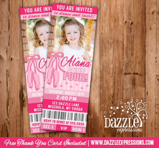 Ballet Dance Ticket Birthday Invitation - FREE thank you card included