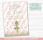 Ballet Pink and Gold Invitation 2 - FREE thank you card included