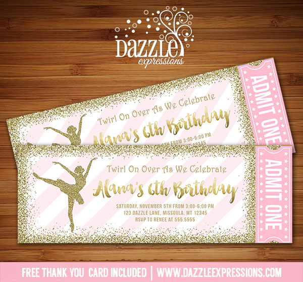 Printable Pink and Gold Glitter Ballet Ticket Birthday Invitation – Ticket Invitation