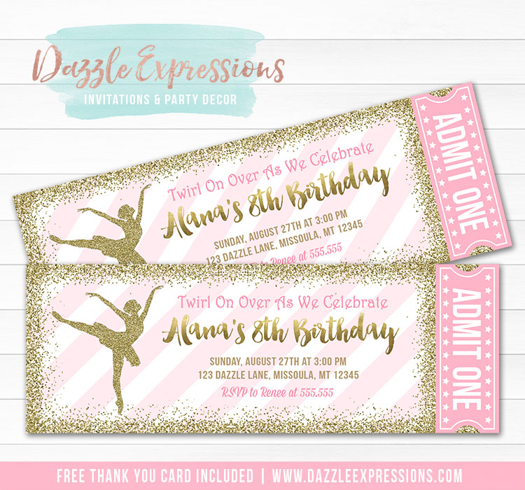 Printable Pink And Gold Glitter Ballet Ticket Birthday Invitation