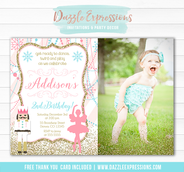 Ballet and Nutcracker Invitation 1 - FREE Thank You Card