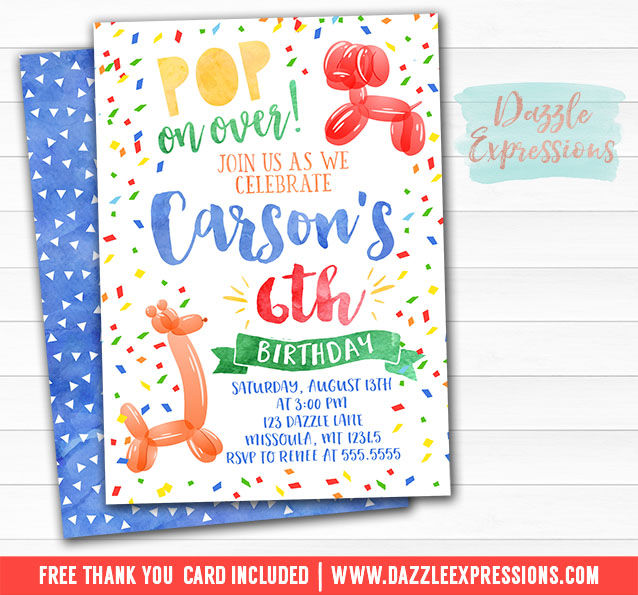 Balloon Animal Watercolor Invitation 1 - FREE thank you card included