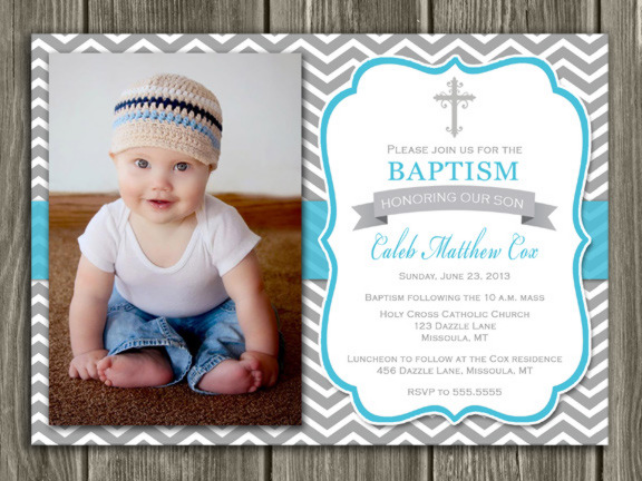Baptism Invitation - Gray and Blue - Thank You Included