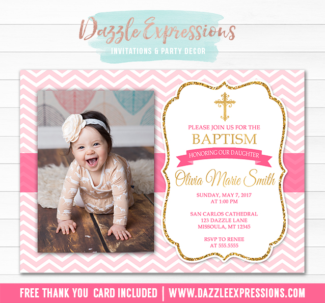 Baptism or Christening Invitation 5 - Thank You Included