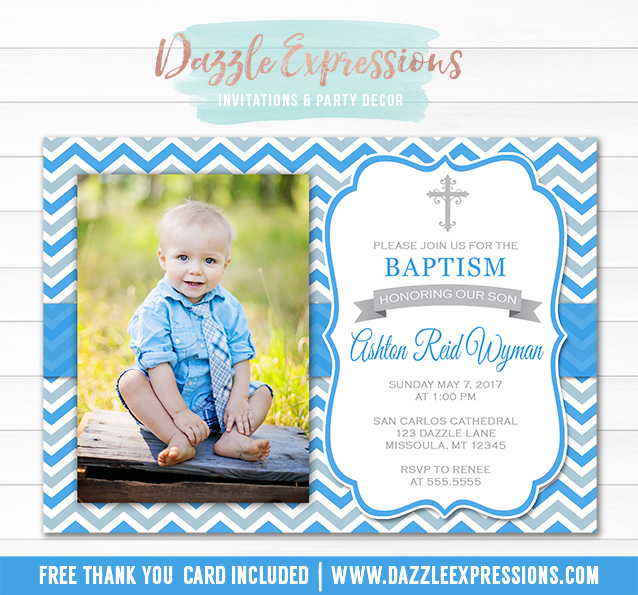 Printable Baby Boy Baptism Invitation Christening Religious