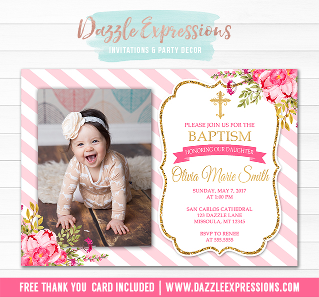 Printable Girl Baptism or Christening Invitation Pink and Gold