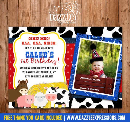 Barnyard Birthday Invitation 1 - FREE Thank You Card Included