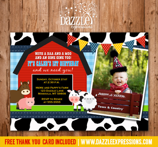Printable Kids Barnyard Birthday Photo Invitation Farm Animals