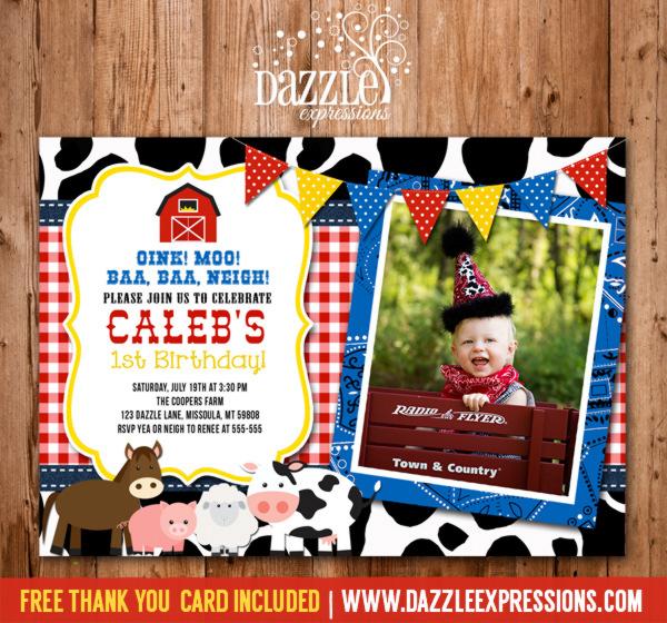 Barnyard Birthday Invitation 3 - FREE Thank You Card Included