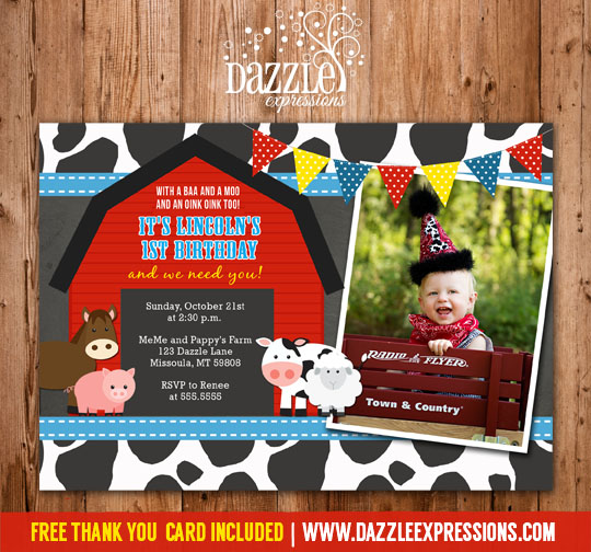 Printable Chalkboard Barnyard First Birthday Photo Invitation Farm