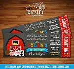 Barnyard Chalkboard Ticket Invitation - FREE thank you card