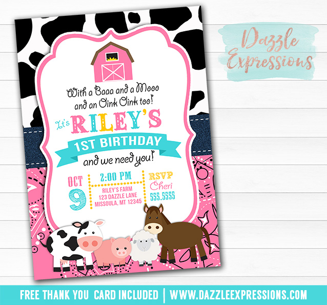 Barnyard Birthday Invitation 5 - FREE thank you card included