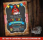 Barnyard Chalkboard Birthday Invitation 2 - FREE thank you card