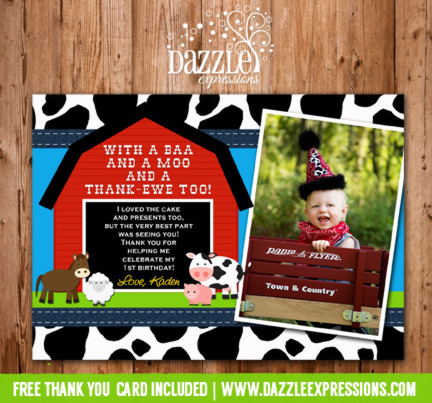 Barnyard Photo Thank You Card - Printable