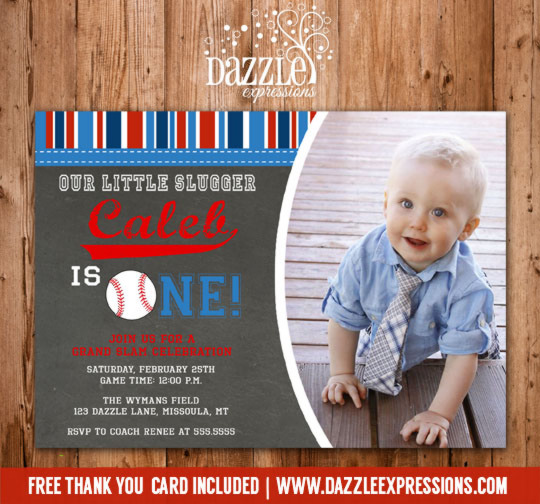 Baseball Chalkboard Photo Birthday Invitation - FREE Thank You Card Included