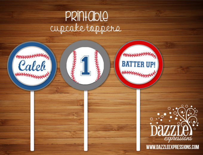 PRINTABLE Baseball Cupcake Toppers