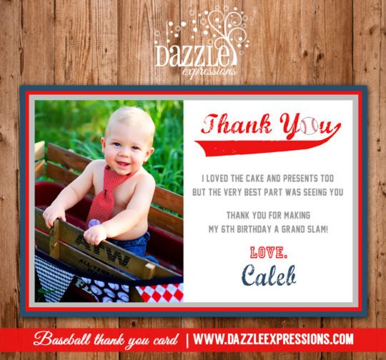 Baseball Photo Thank You Card - Printable