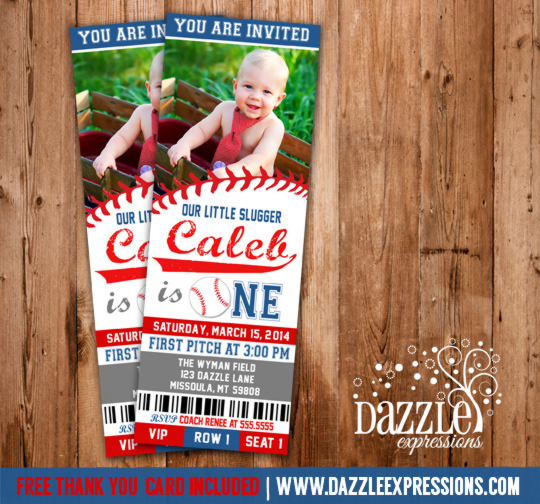 Baseball Ticket Birthday Invitation 2 -  FREE Thank You Card Included