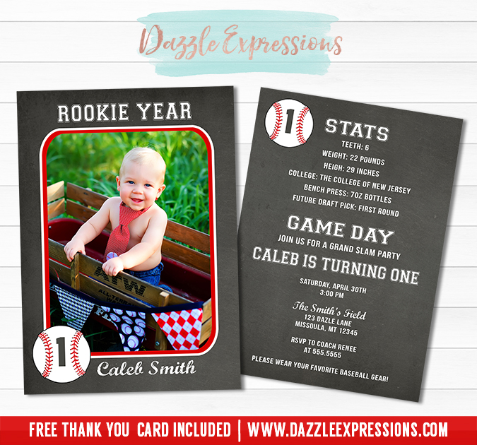 Baseball Card Stats Chalkboard Invitation - FREE thank you card