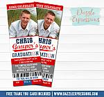 Baseball Graduation Ticket Invitation - FREE thank you card