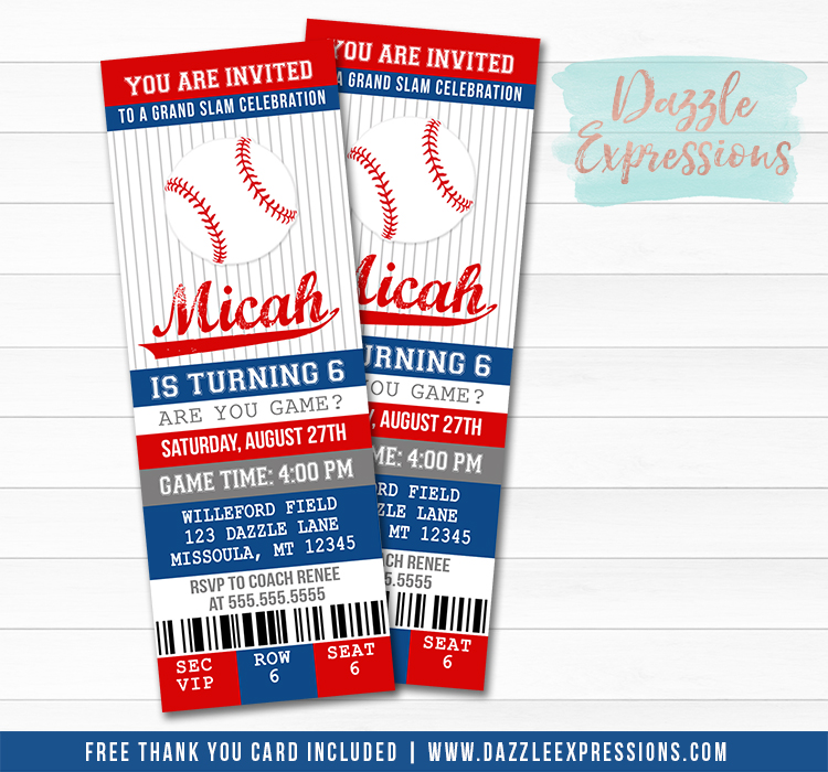 Baseball Ticket Birthday Invitation 4 -  FREE Thank You Card Included
