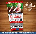 Baseball Ticket Birthday Invitation 1 - Thank You Card Included