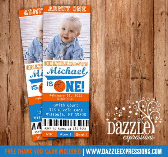 Basketball Ticket Birthday Invitation - FREE thank you card included