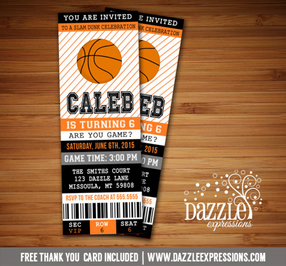 Basketball Ticket Birthday Invitation 2 - FREE thank you card included