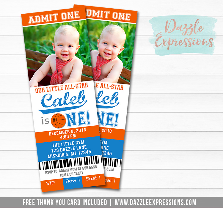 Basketball Ticket Birthday Invitation 1 - FREE thank you card included