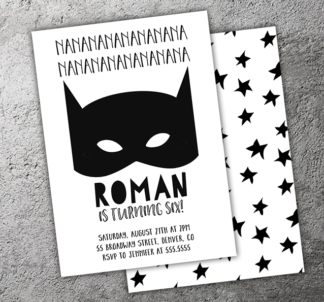 Batman Inspired Birthday Invitation - FREE thank you card and back included