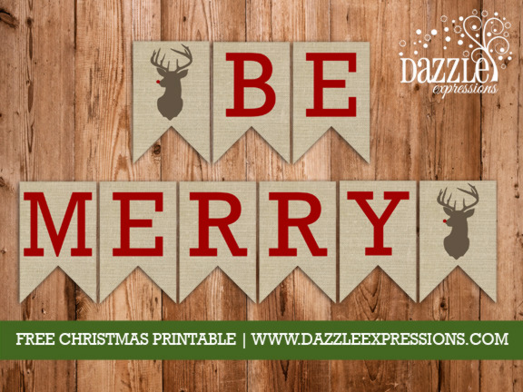 Be Merry Printable Banner
