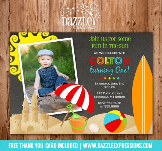 Beach Boy Chalkboard Birthday Invitation - FREE thank you card included