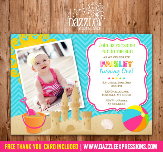 Beach Party Invitation 2 - FREE thank you card included
