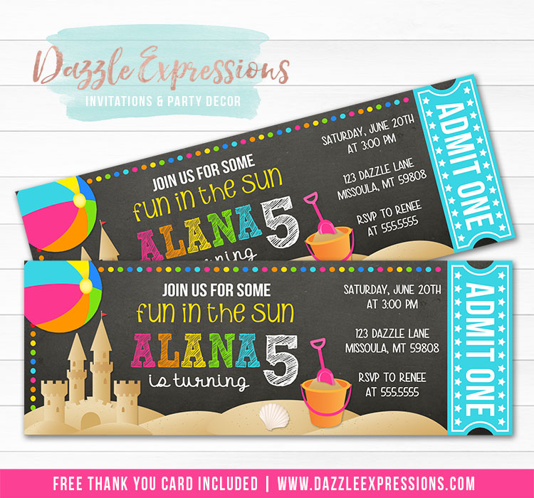 Beach Chalkboard Ticket Invitation 2 - FREE thank you card included