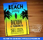 Beach Party Invitation 4 - FREE thank you card included