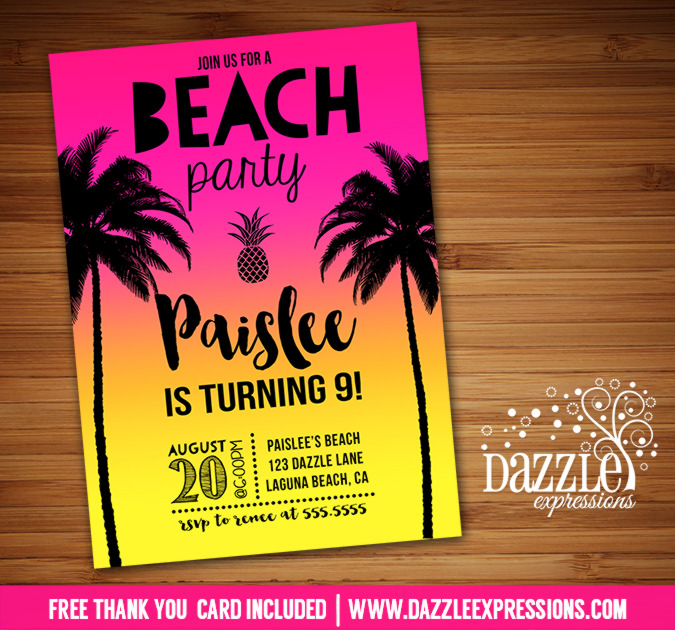 printable beach party birthday invitation surf board pineapple