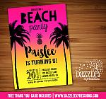 Beach Party Invitation 3 - FREE thank you card included