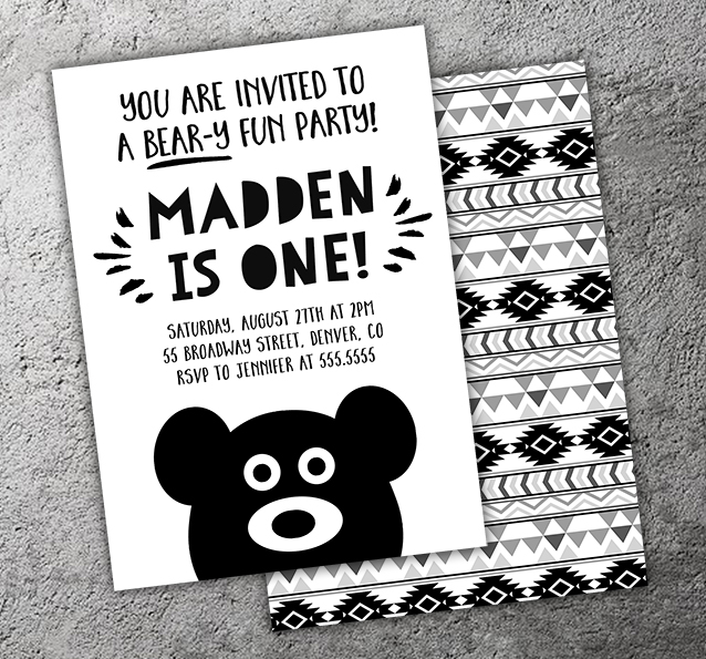 Bear Birthday Invitation 2 - FREE thank you card included