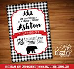 Bear Plaid Invitation 1 - FREE thank you card included