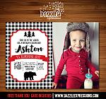 Bear Plaid Invitation 2 - FREE thank you card included