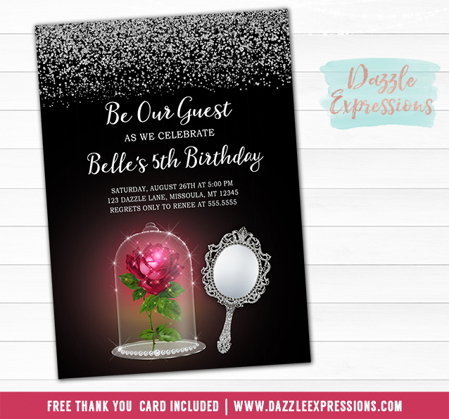 printable beauty and the beast inspired birthday invitation beauty