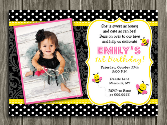 Bee Birthday Invitation 2 - Thank You Card Included